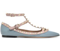 Rockstud Patent-leather Point-toe Flats Gray