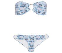 Evita Printed Bandeau Bikini Blue