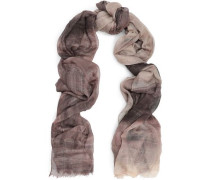 Frayed checked cashmere-blend scarf
