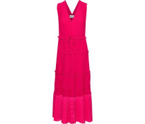 Woman Pleated Satin-paneled Crepe De Chine Dress Bright Pink