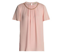 Chain-embellished Pleated Silk Crepe De Chine Blouse Baby Pink