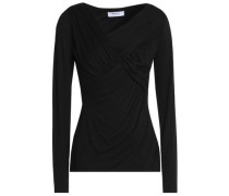 Wrap-effect stretch-jersey top