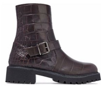 Croc-effect Leather Ankle Boots Chocolate