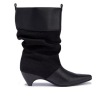 Faux Leather And Woven Boots Black