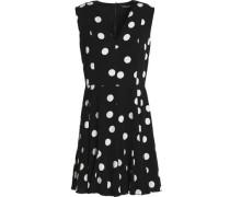 Pleated polka-dot silk-blend mini dress