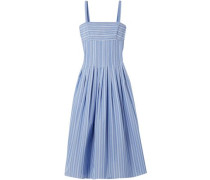 Pleated Striped Poplin Dress Light Blue