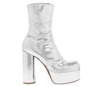 Metallic Textured-leather Platform Ankle Boots Silver