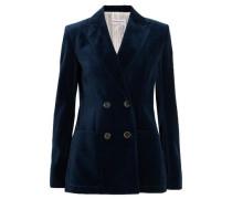 Double-breasted cotton-velvet blazer