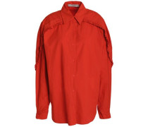Ruffle-trimmed Cotton-poplin Shirt Tomato Red