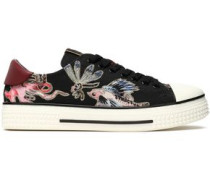 Leather-trimmed printed canvas sneakers