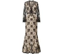 Satin-trimmed Cotton-blend Lace Gown Black