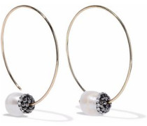 Gold-tone crystal and faux-pearl earrings