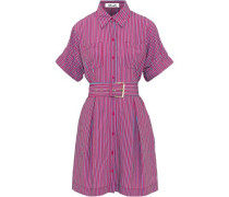 Belted striped poplin mini shirt dress