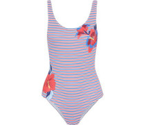 Kelly Floral-print Striped Swimsuit Red