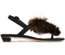 Appliquéd Woven Sandals Black