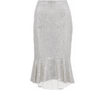 Fluted Embellished Gauze Midi Skirt Silver Size 0