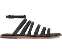 Bead-embellished leather sandals
