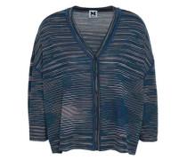 Crochet-knit Wool-blend Cardigan Cobalt Blue
