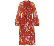 Tamaryn Pussy-bow Floral-print Silk-chiffon Midi Dress Tomato Red