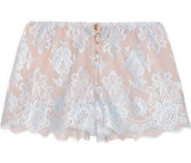 Sweet Sumatra lace and silk-chiffon pajama shorts
