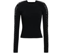 Laser-cut Stretch-knit Top Black