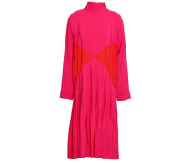 Pleated Two-tone Crepe De Chine Turtleneck Dress Red