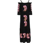 Noelle Off-the-shoulder Embroidered Cotton-gauze Maxi Dress Black