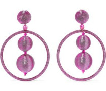 Bead And Metallic Cord Clip Earrings Bright Pink Size --