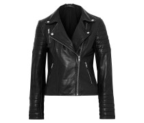 Woman Cordata Quilted Leather Biker Jacket Black