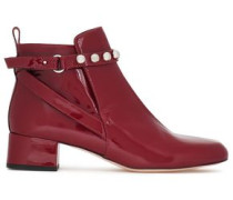 Studded patent-leather ankle boots