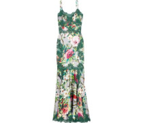 Giupure lace-trimmed floral-print silk-blend satin gown