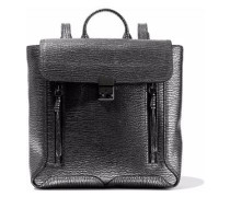 Metallic textured-leather backpack