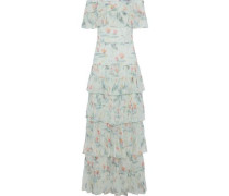Off-the-shoulder Tiered Floral-print Silk-georgette Gown Sage Green
