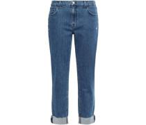 Woman Cropped Distressed High-rise Slim-leg Jeans Mid Denim