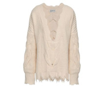 Distressed Cable-knit Cotton-blend Sweater Ivory