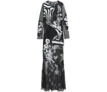 Lace-paneled appliquéd tulle and point d'esprit gown
