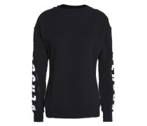 Zip-detailed printed French cotton-terry sweatshirt