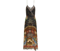 Wrap-effect crystal-embellished printed silk maxi dress