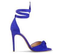 Clarita Knotted Suede Sandals Royal Blue
