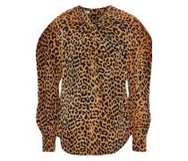 Twist-front Leopard-print Silk Crepe De Chine Blouse Animal Print