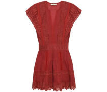 Crochet-trimmed Broderie Anglaise Cotton, Ramie And Linen-blend Mini Dress Brick