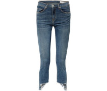Cropped Frayed Mid-rise Skinny Jeans Mid Denim  8