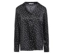Betty Twinkling Printed Silk-blend Satin Pajama Top Black