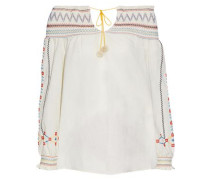 Off-the-shoulder embroidered cotton-gauze top
