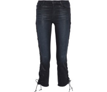 Lace-up coated mid-rise slim-leg jeans