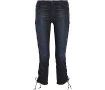 Lace-up Coated Mid-rise Slim-leg Jeans Black  9