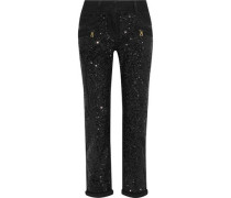 Sequined Mid-rise Slim-leg Jeans Black