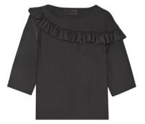 Ruffle-trimmed wool-blend crepe top