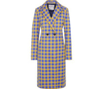 Darcie Double-breasted Gingham Twill Coat Blue
