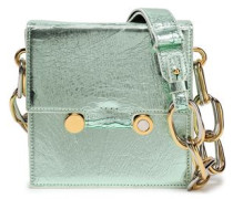 Woman Embellished Metallic Cracked-leather Shoulder Bag Mint